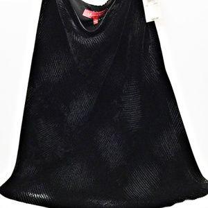 ANNE KLEIN Black Textured Velvet A-Line Skirt Sz 8
